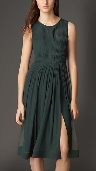 Pleated Silk Dress