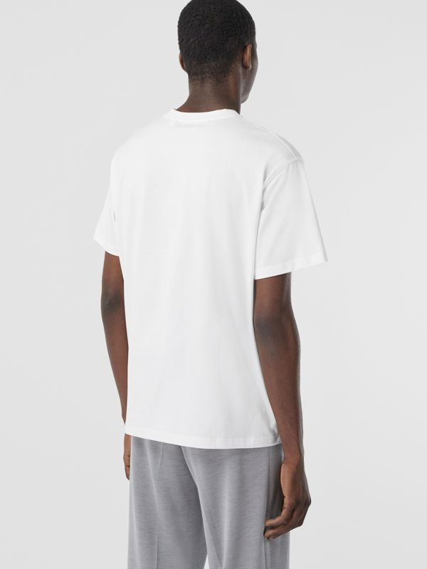 Swan and Logo Print Cotton Oversized T-shirt in Optic White | Burberry - cell image 2