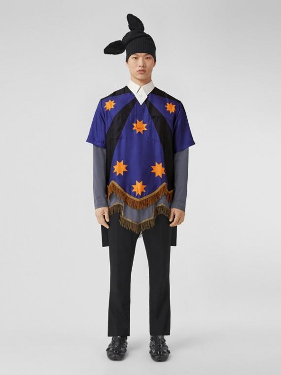 Bullion Fringing Geometric Print Silk Tunic Shirt in Bright Navy