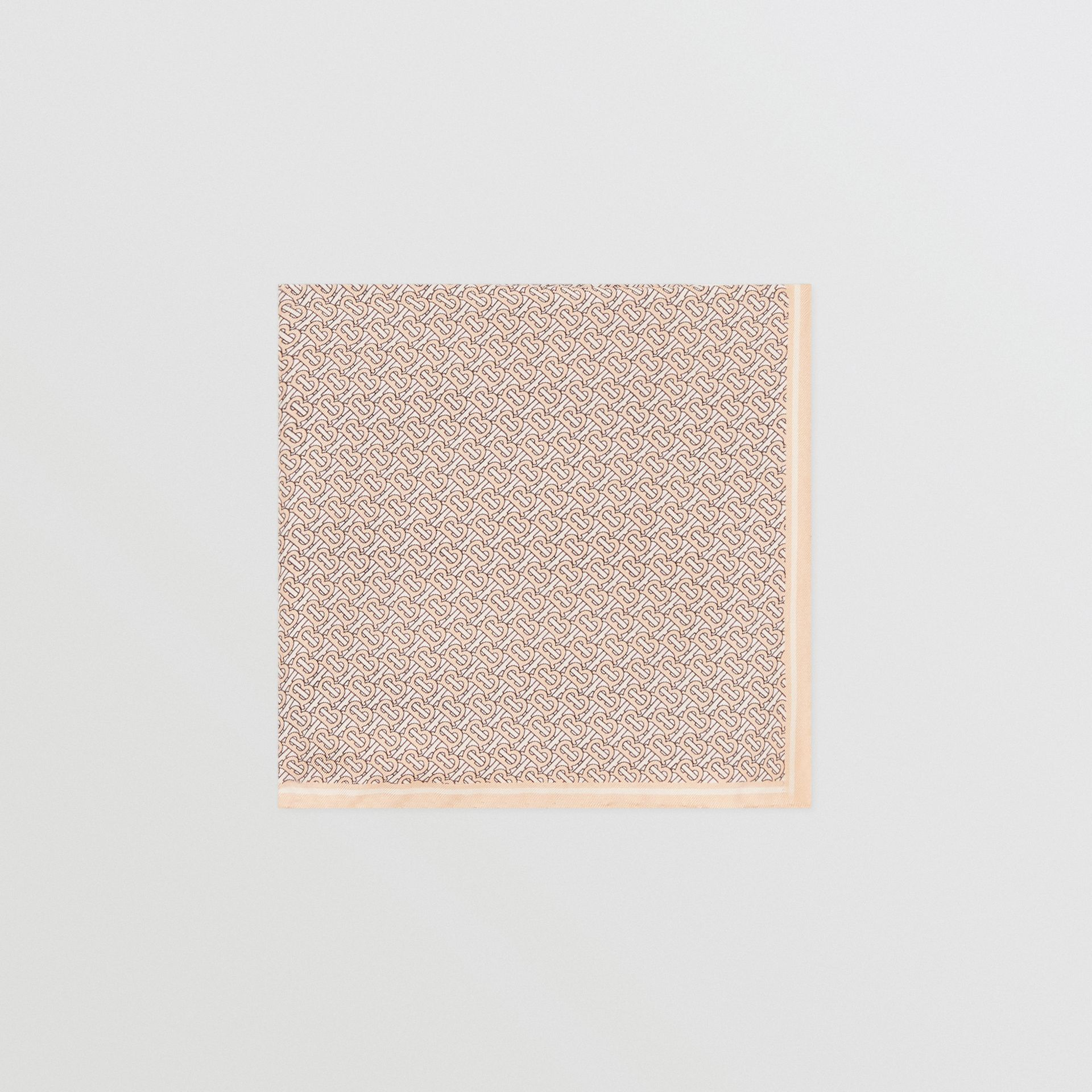 Monogram Print Silk Pocket Square in Blush Pink - Men | Burberry - gallery image 0