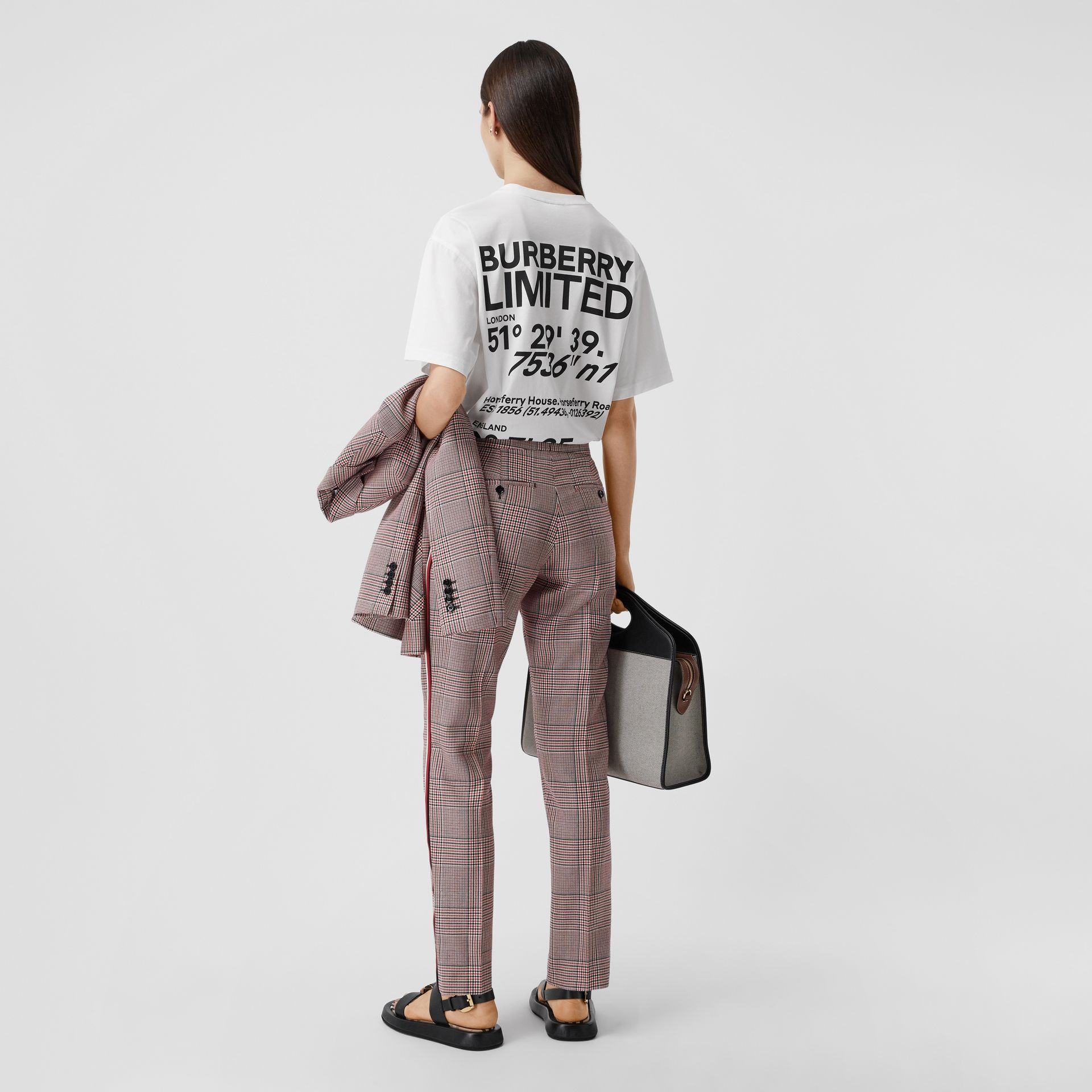 Coordinates Print Cotton Oversized T-shirt in White - Women | Burberry - gallery image 0