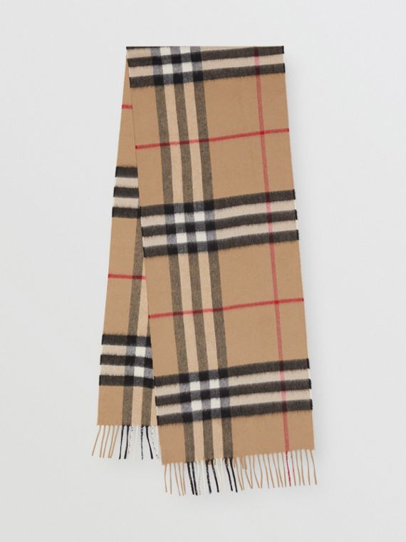 The Classic Check Cashmere Scarf in Archive Beige