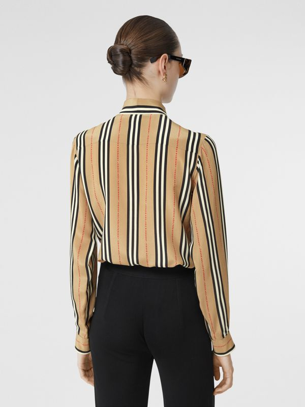 Logo Print Icon Stripe Silk Chiffon Pussy-bow Blouse in Archive Beige - Women | Burberry - cell image 2