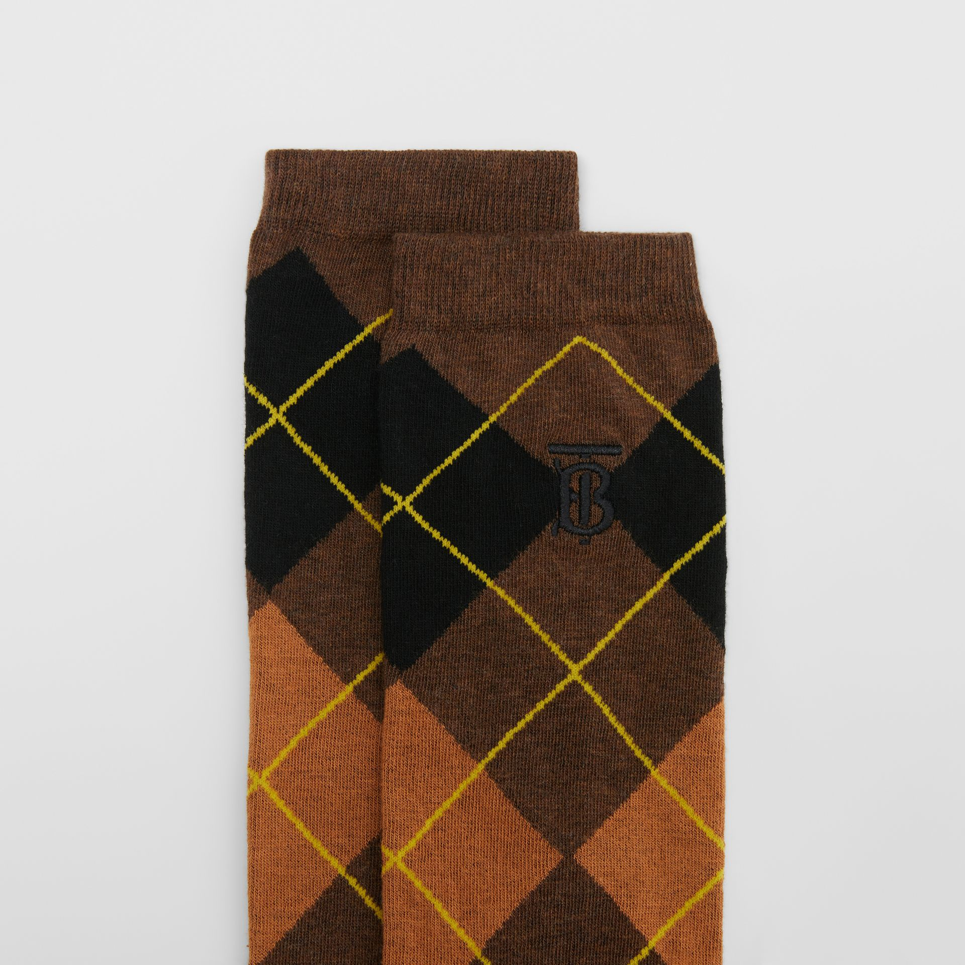 Argyle Intarsia Cotton Blend Calf-length Socks in Brown | Burberry - gallery image 1