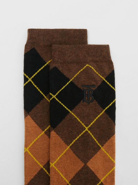 Argyle Intarsia Cotton Blend Calf-length Socks in Brown | Burberry - cell image 1