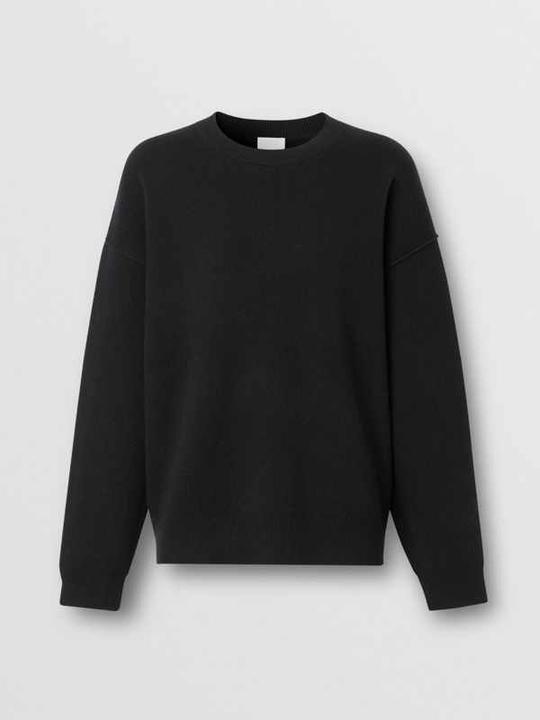Monogram Motif Cashmere Blend Sweater in Black - Women | Burberry - cell image 3