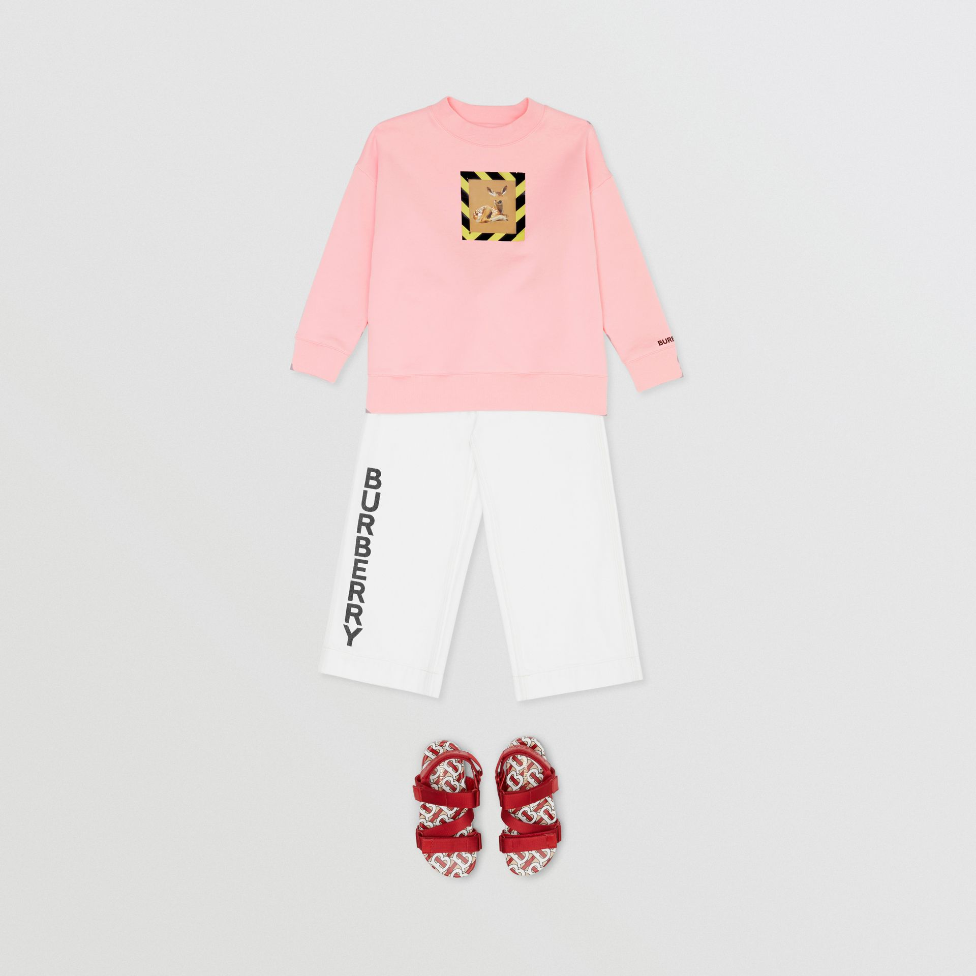Deer Print Cotton Sweatshirt in Candy Pink | Burberry - gallery image 3