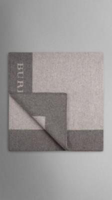 中灰色条纹 同色系羊毛喀什米尔毛毯 - 图像 2
