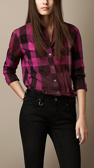 Check Cotton Pleat Detail Shirt