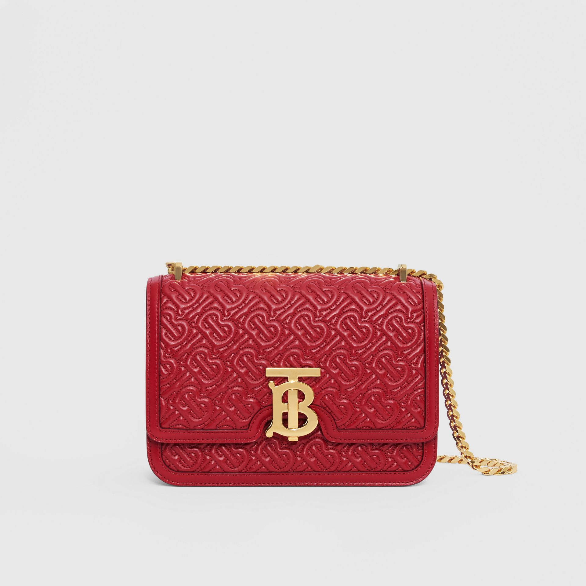 Small Quilted Monogram Lambskin TB Bag in Dark Carmine - Women | Burberry - gallery image 0