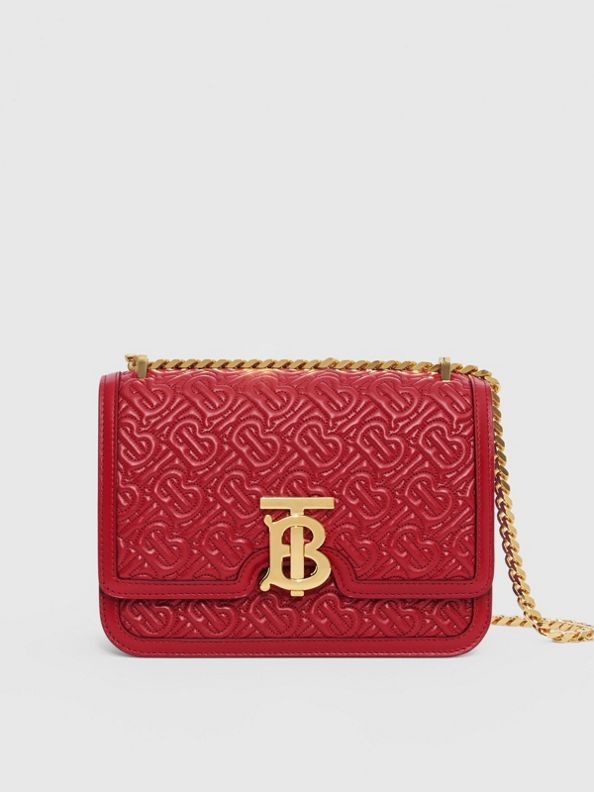 Small Quilted Monogram Lambskin TB Bag in Dark Carmine