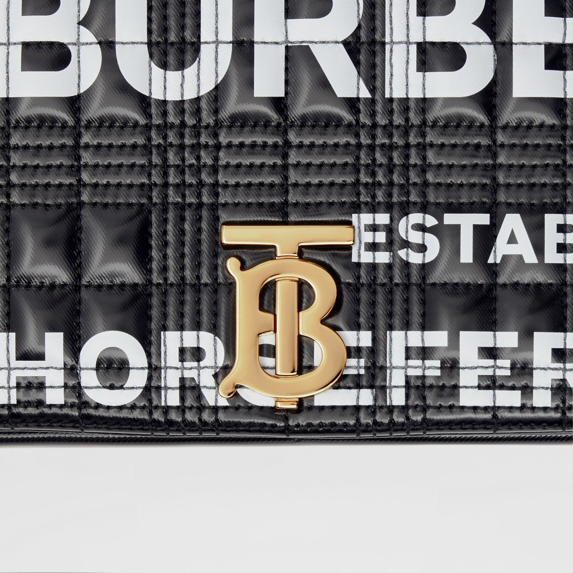 Small Horseferry Print Quilted Lola Bag in Black/gold | Burberry United Kingdom - gallery image 10