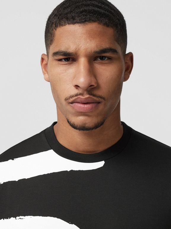 Love Print Cotton Oversized T-shirt in Black - Men | Burberry - cell image 1