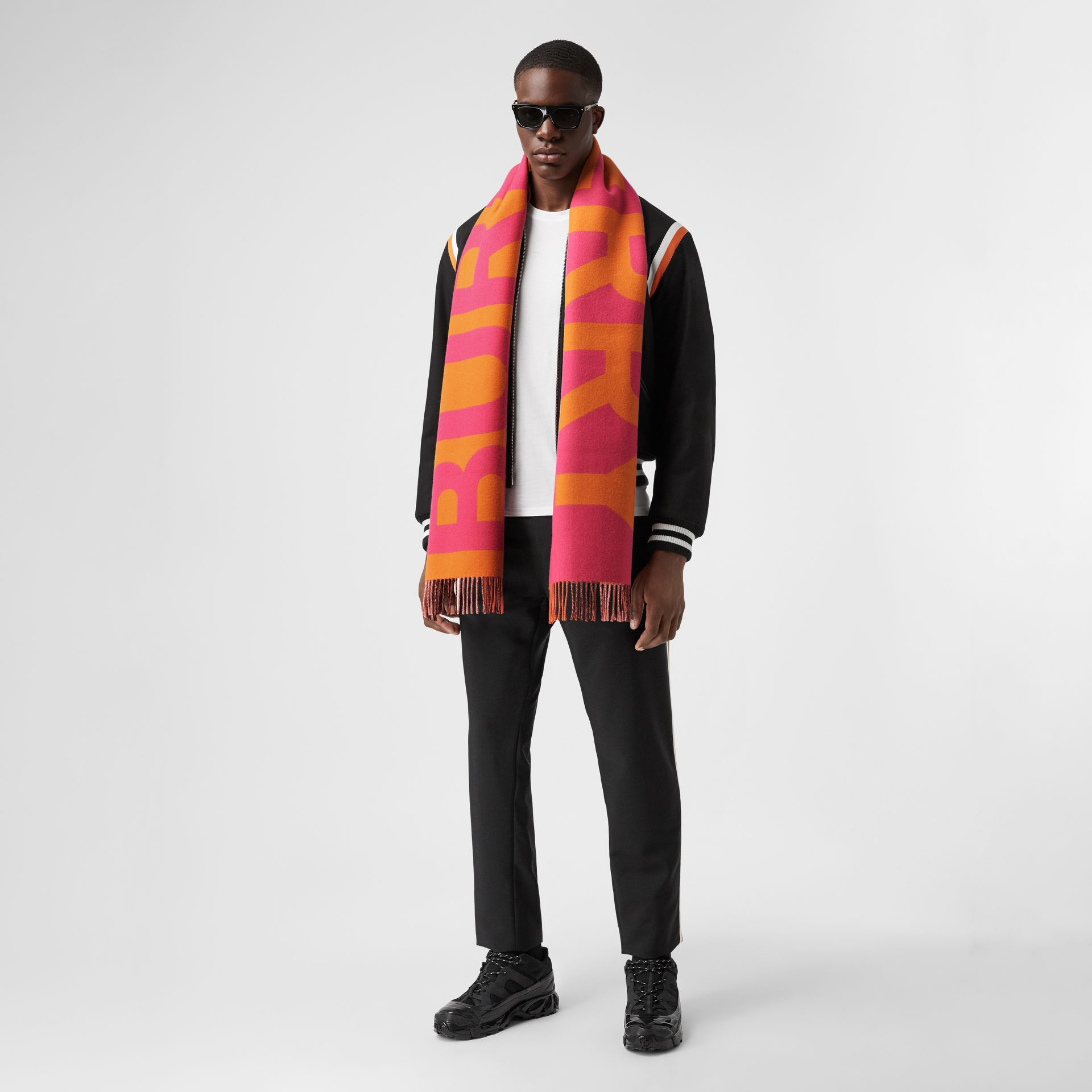 Reversible Check and Logo Cashmere Scarf in Orange | Burberry - gallery image 7