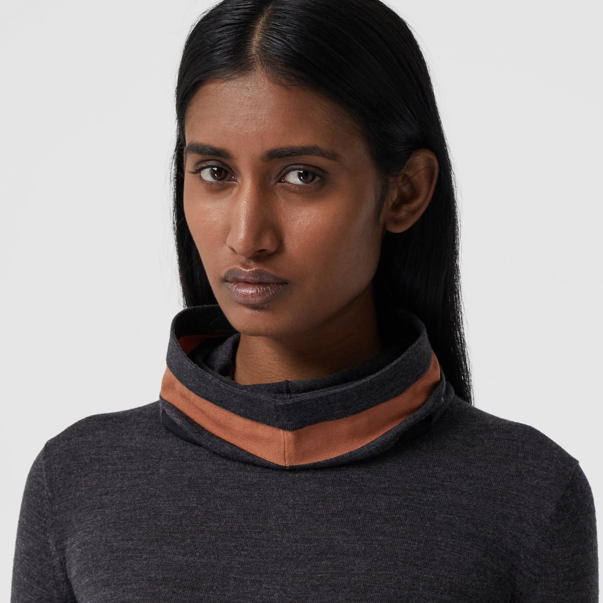 Stripe Detail Merino Wool Hooded Top in Dark Grey Melange - Women | Burberry - gallery image 1