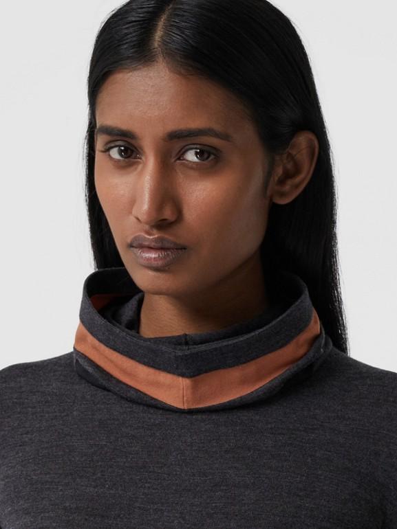 Stripe Detail Merino Wool Hooded Top in Dark Grey Melange - Women | Burberry - cell image 1