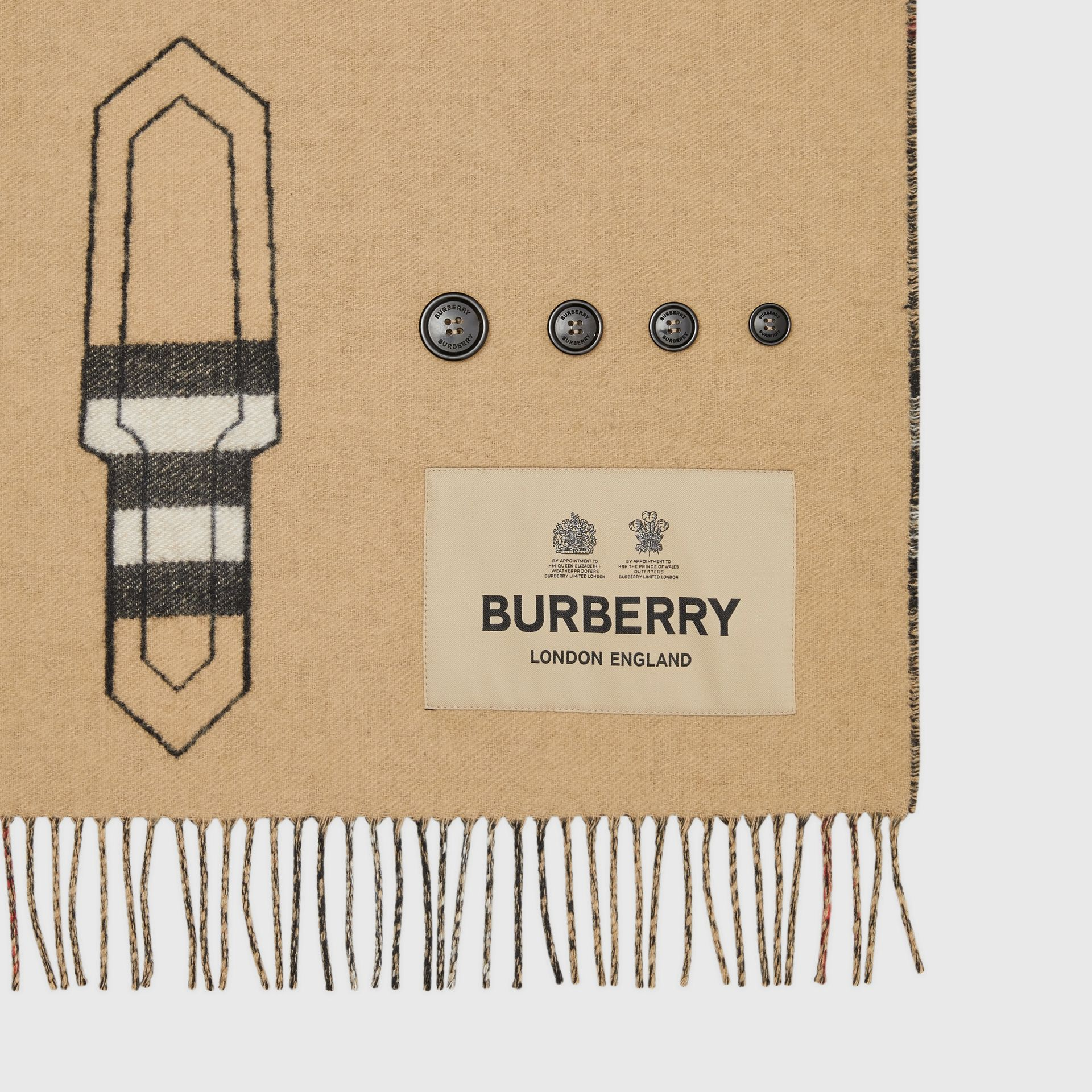 Archive Trench Coat Pattern Cashmere Jacquard Scarf in Beige | Burberry - gallery image 6