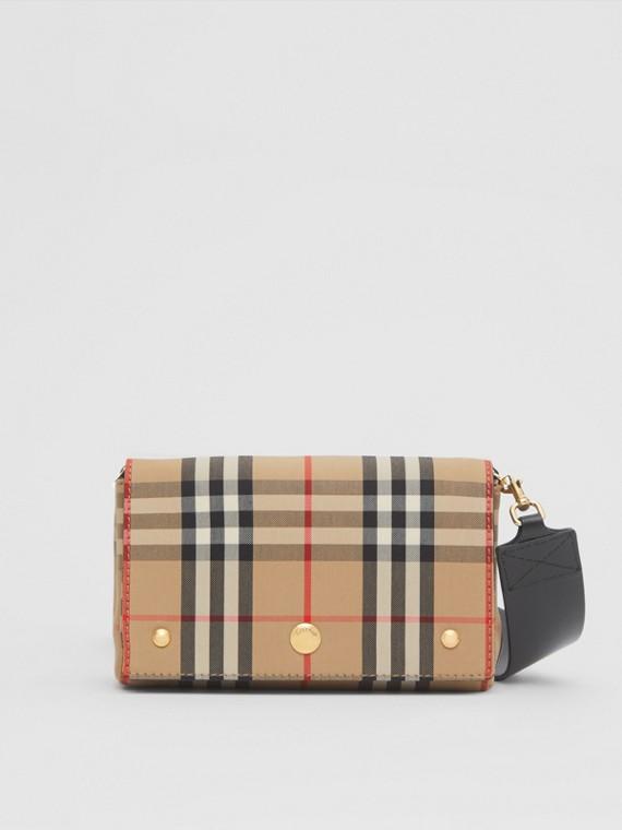 Kleine Crossbody-Tasche aus Vintage Check-Gewebe und Leder (Vintage-beige)
