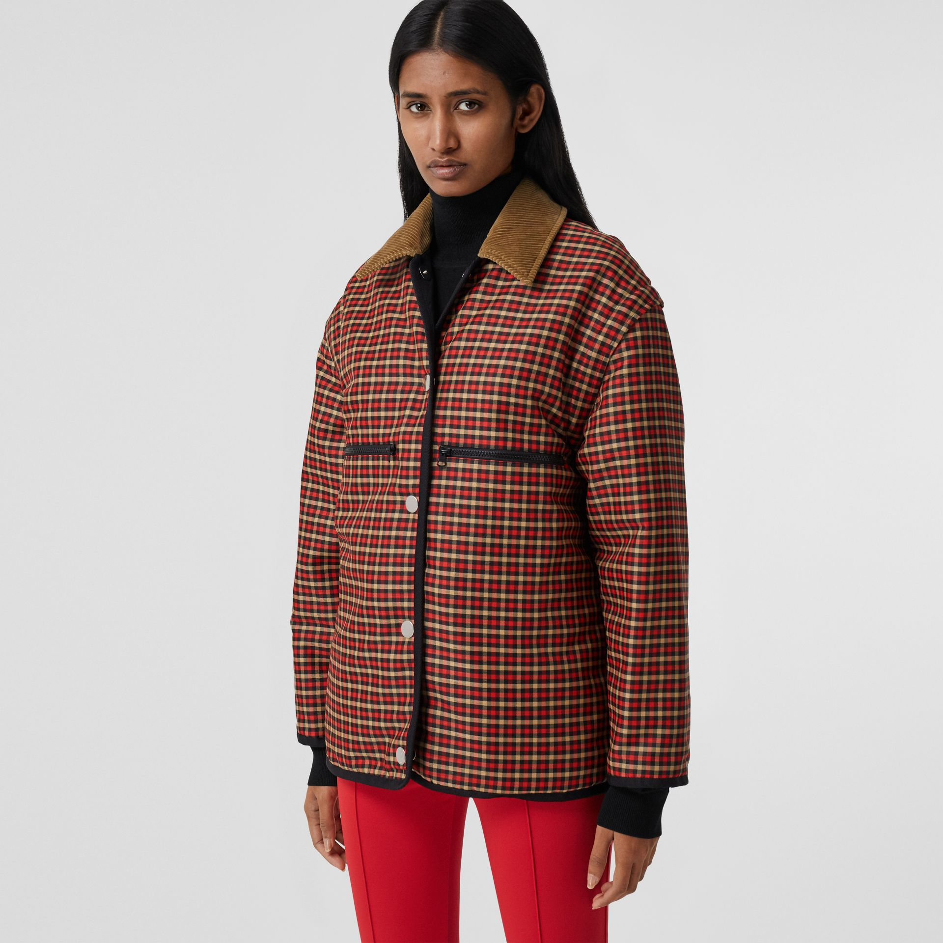 Detachable Sleeve Reversible Logo Graphic Jacket in Black - Women | Burberry Canada - gallery image 1