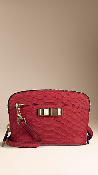 Mini Nubuck Python Crossbody Bag