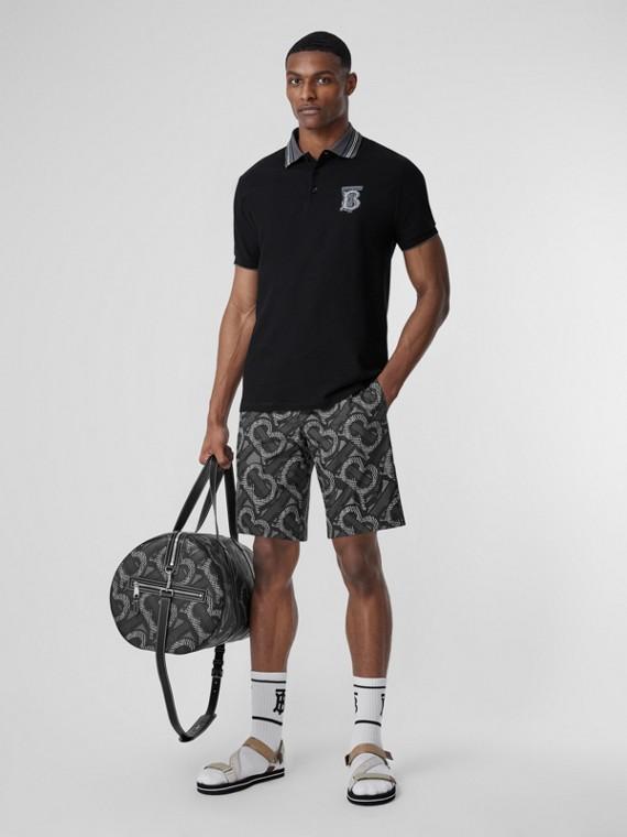 Camisa polo de algodão piquê com estampa de monograma – Unissex (Preto)