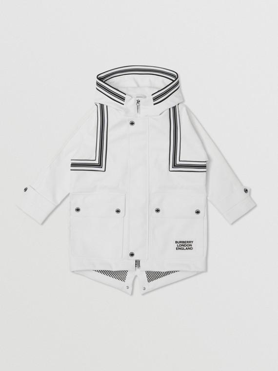 羅紋針織條紋細節裁片設計連帽大衣 (白色)