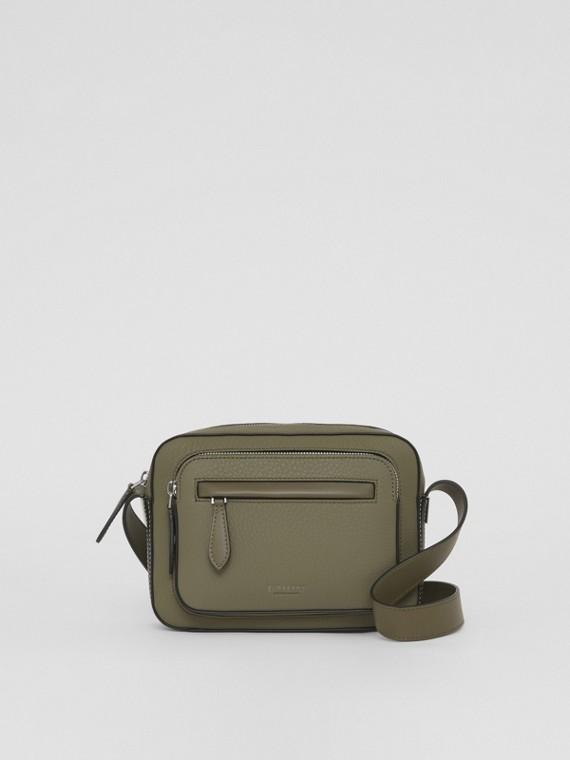 Two-tone Grainy Leather Crossbody Bag in Poplar Green/black