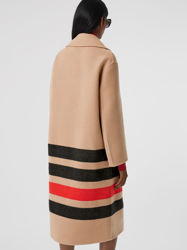 Stripe Detail Double-faced Wool Coat in Light Camel - Women | Burberry - cell image 2
