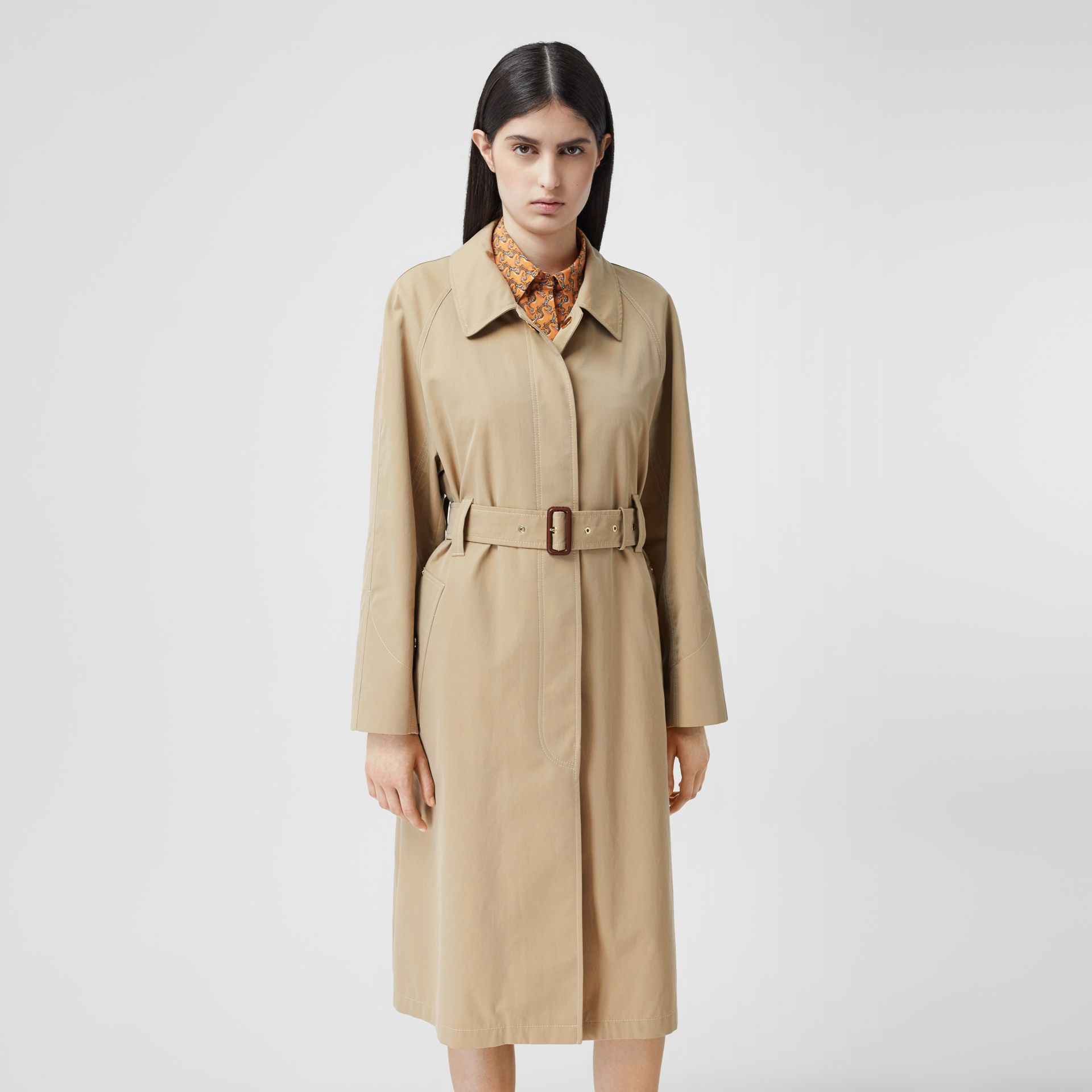 Tropical Gabardine Belted Car Coat in Honey - Women | Burberry - gallery image 0