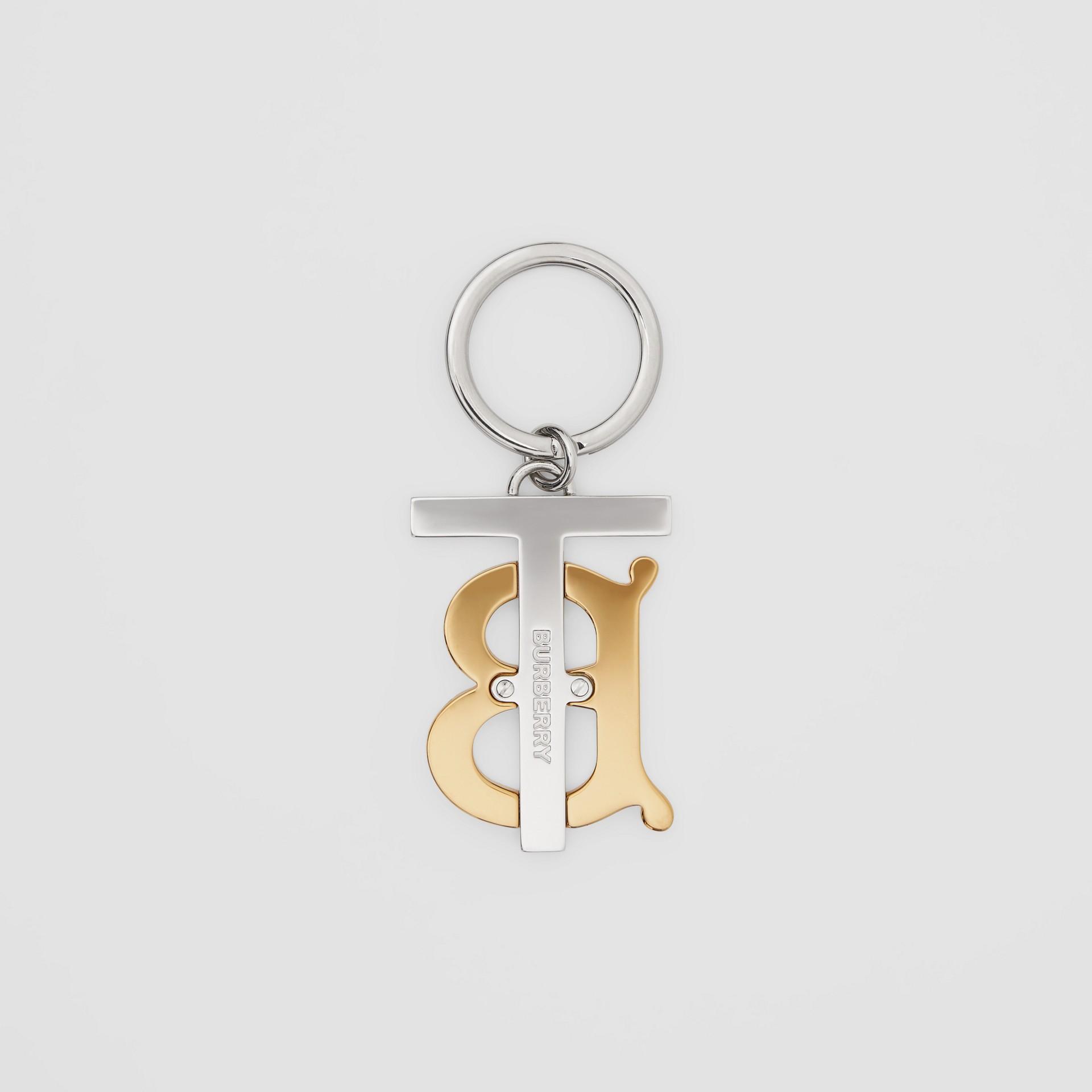 Gold and Palladium-plated Monogram Motif Key Ring in Gold/palladium | Burberry United Kingdom - gallery image 2