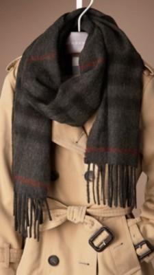 分解格子羊绒围巾