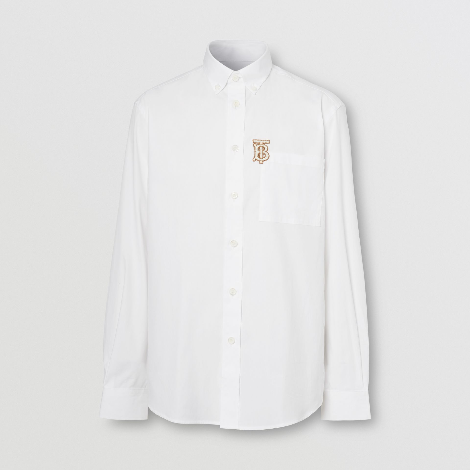 Monogrom Motif Stretch Cotton Poplin Shirt in White - Men | Burberry Hong Kong S.A.R. - gallery image 3