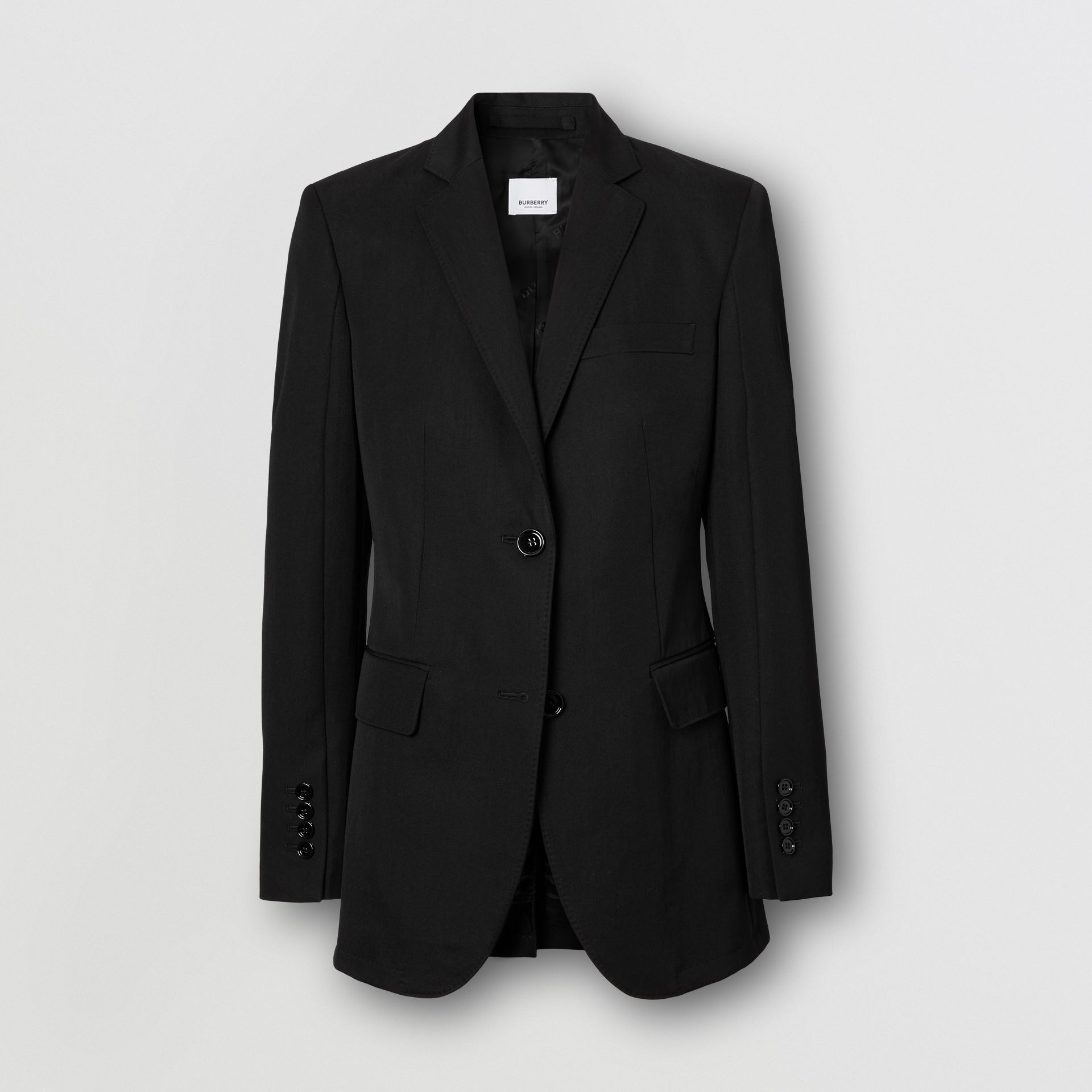 Technical Wool Gabardine Tailored Jacket in Black - Women | Burberry - gallery image 3