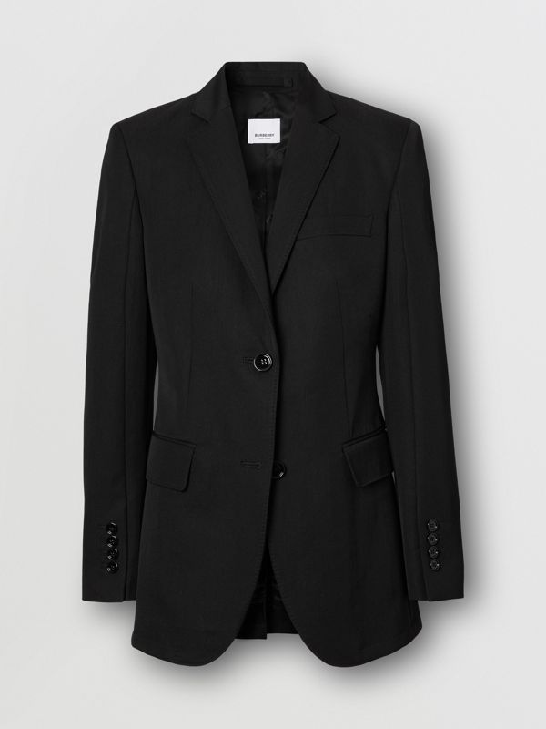 Technical Wool Gabardine Tailored Jacket in Black - Women | Burberry - cell image 3