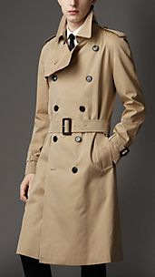 Trench-coat long en gabardine de coton