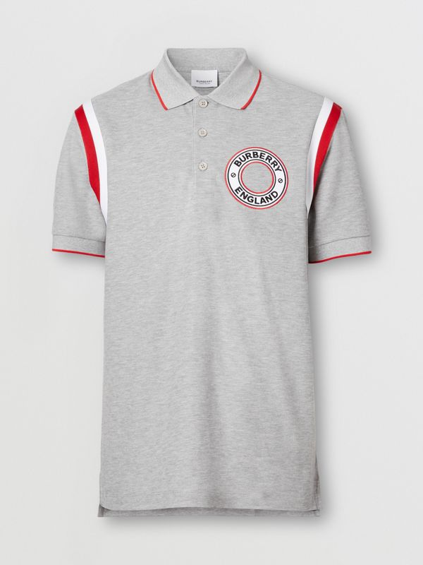 Logo Graphic Appliqué Cotton Piqué Polo Shirt in Pale Grey Melange - Men | Burberry Hong Kong S.A.R. - cell image 3