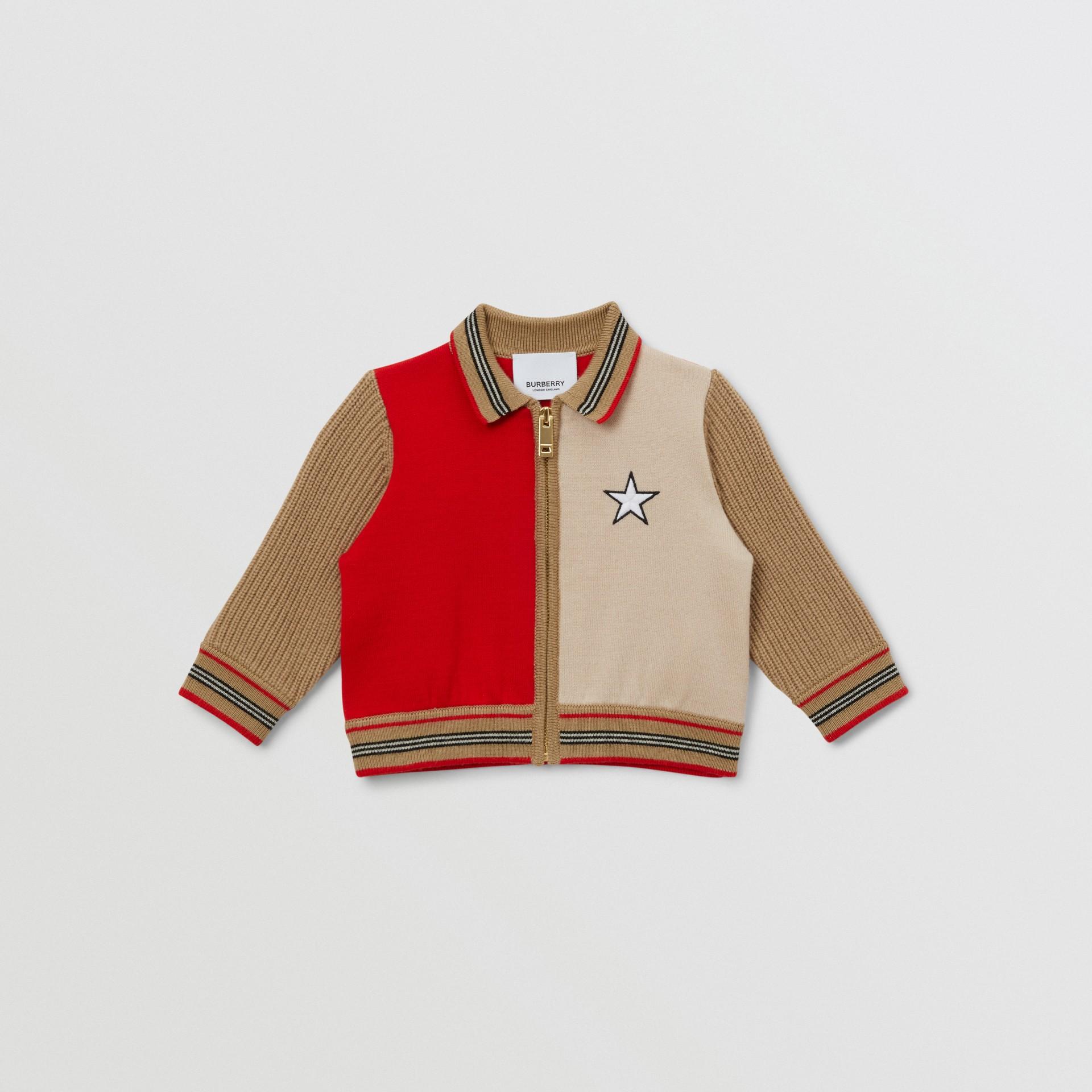Veste en laine mélangée color-block avec motif étoilé - Enfant | Burberry - photo de la galerie 0