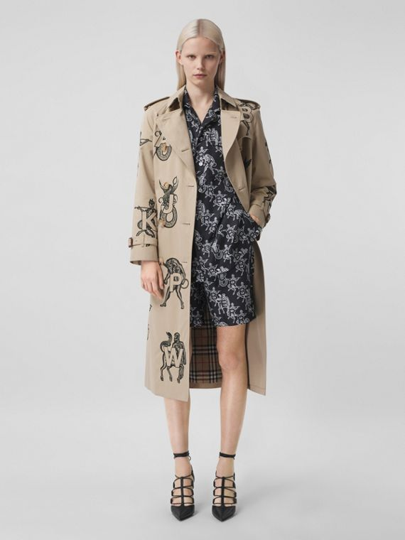 Mythical Alphabet Embroidered Cotton Trench Coat in Honey