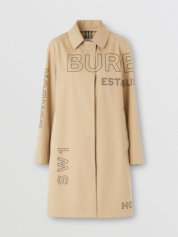 Horseferry Print Cotton Gabardine Car Coat (Honey)