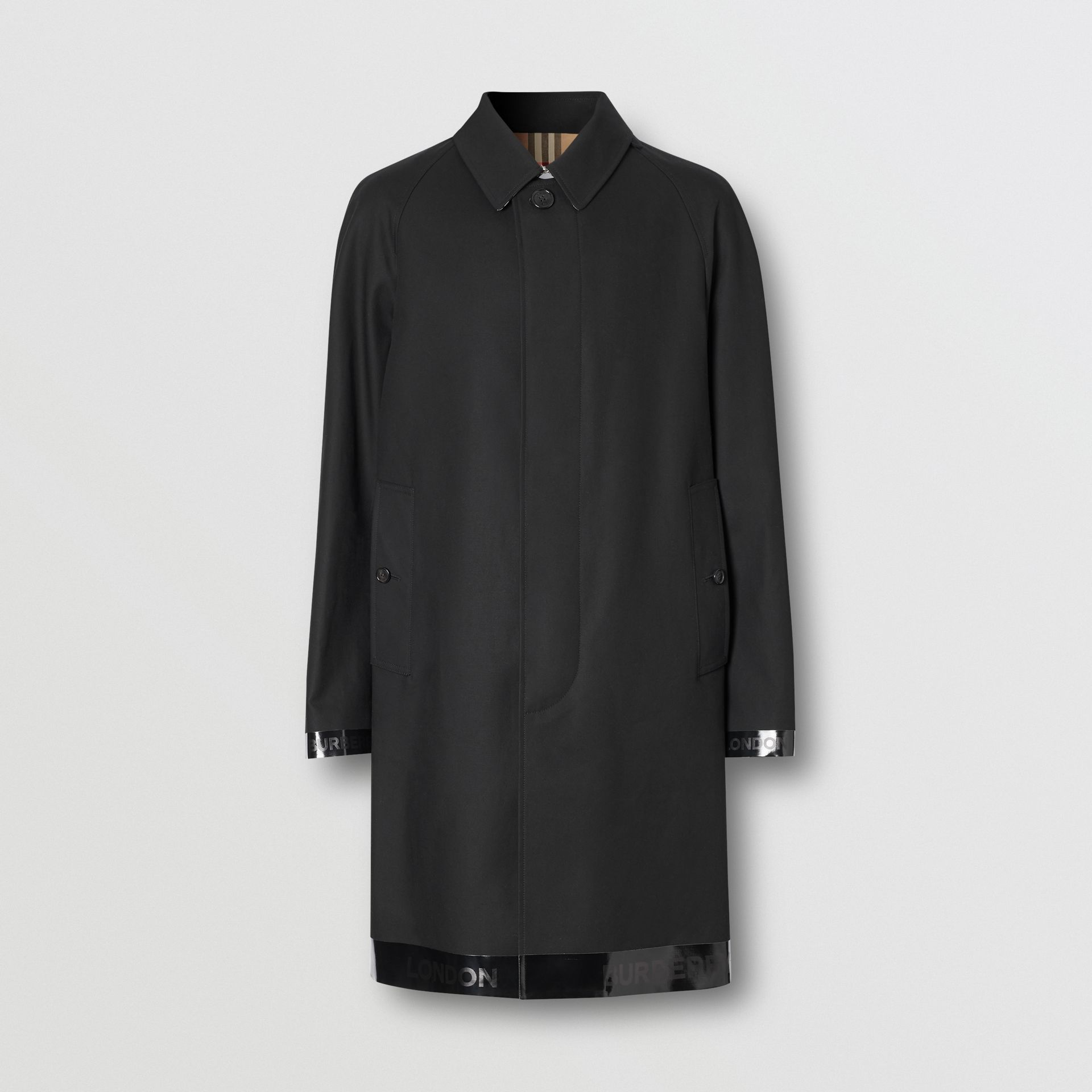 Logo Tape Cotton Car Coat in Black - Men | Burberry - gallery image 3