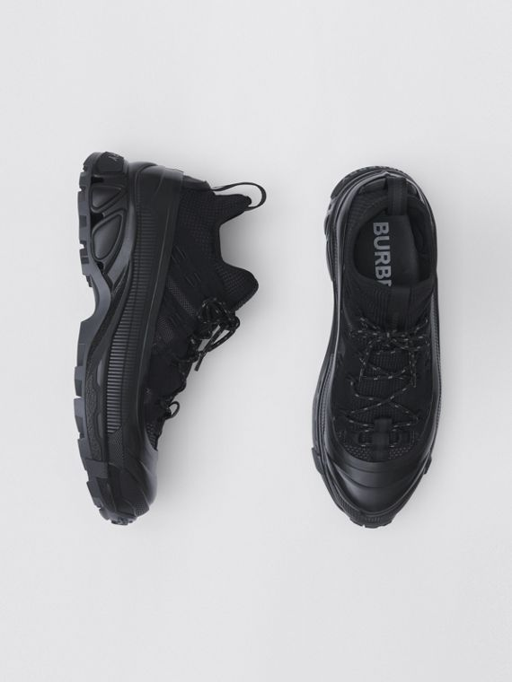 Knitted Stretch Nylon Arthur Sneakers in Black