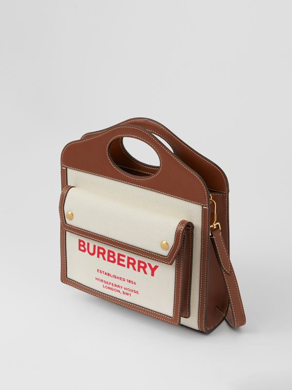 Mini Two-tone Canvas and Leather Pocket Bag in Natural/tan - Women | Burberry - cell image 3