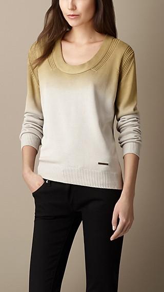 Scoop Neck Ombré Silk Sweater