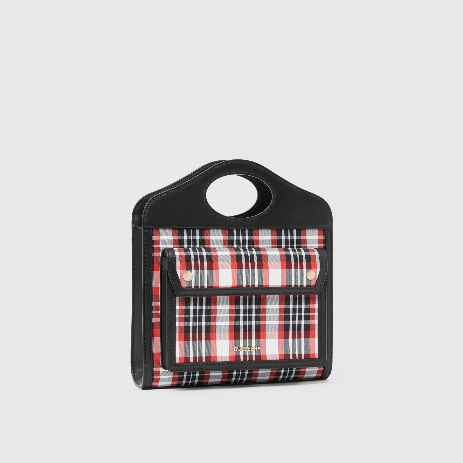 Mini Tartan Nylon and Leather Pocket Bag in Bright Red - Women | Burberry - gallery image 6