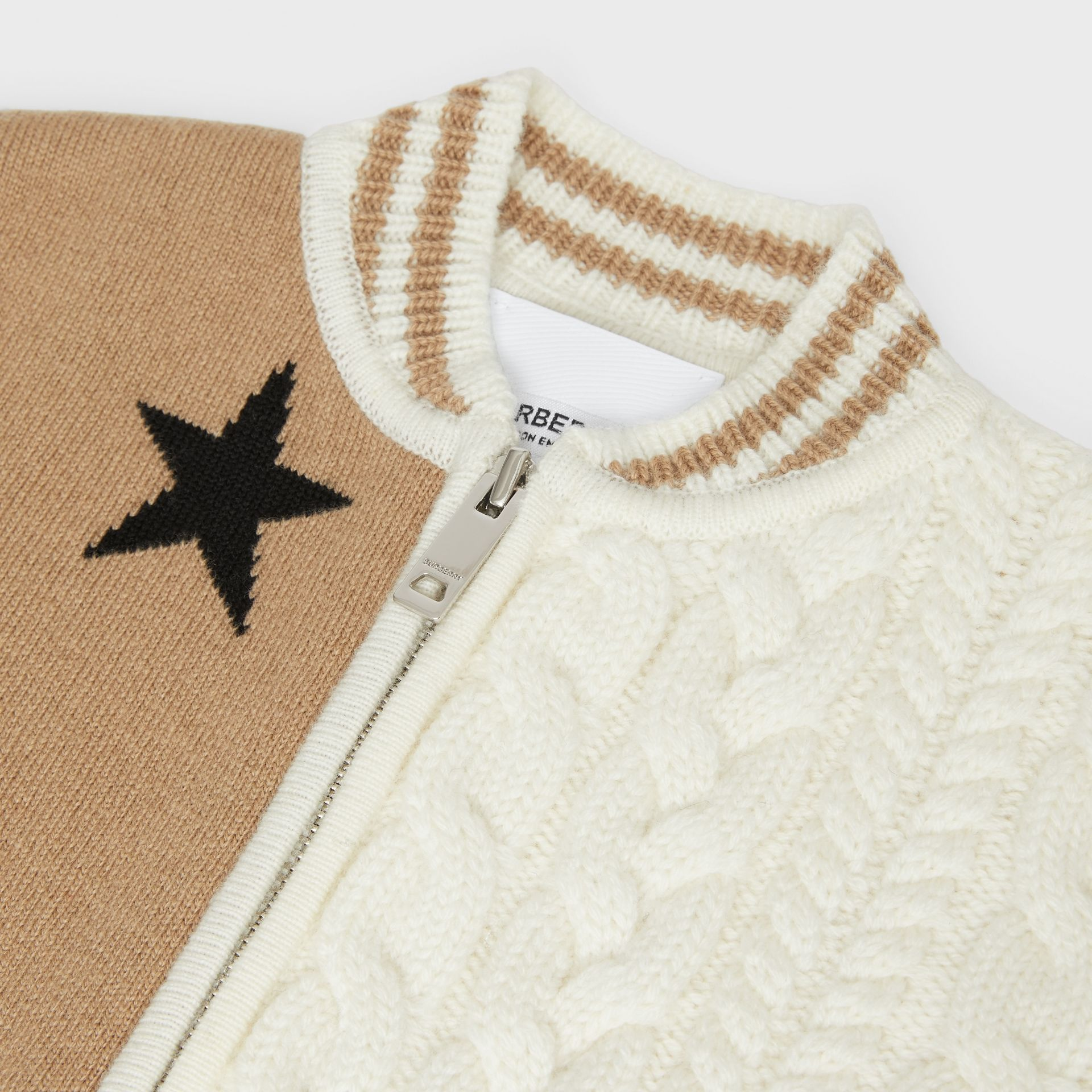 Star and Monogram Motif Wool Cashmere Blend Jacket in Archive Beige - Children | Burberry Canada - gallery image 1