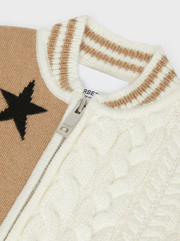 Star and Monogram Motif Wool Cashmere Blend Jacket in Archive Beige - Children | Burberry Canada - cell image 1
