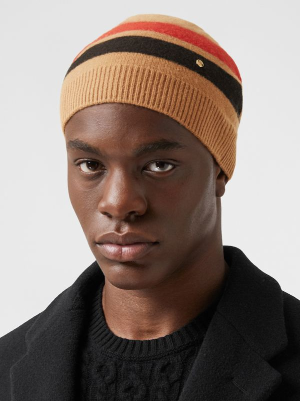 Monogram Motif Merino Wool Cashmere Beanie in Warm Camel | Burberry - cell image 3