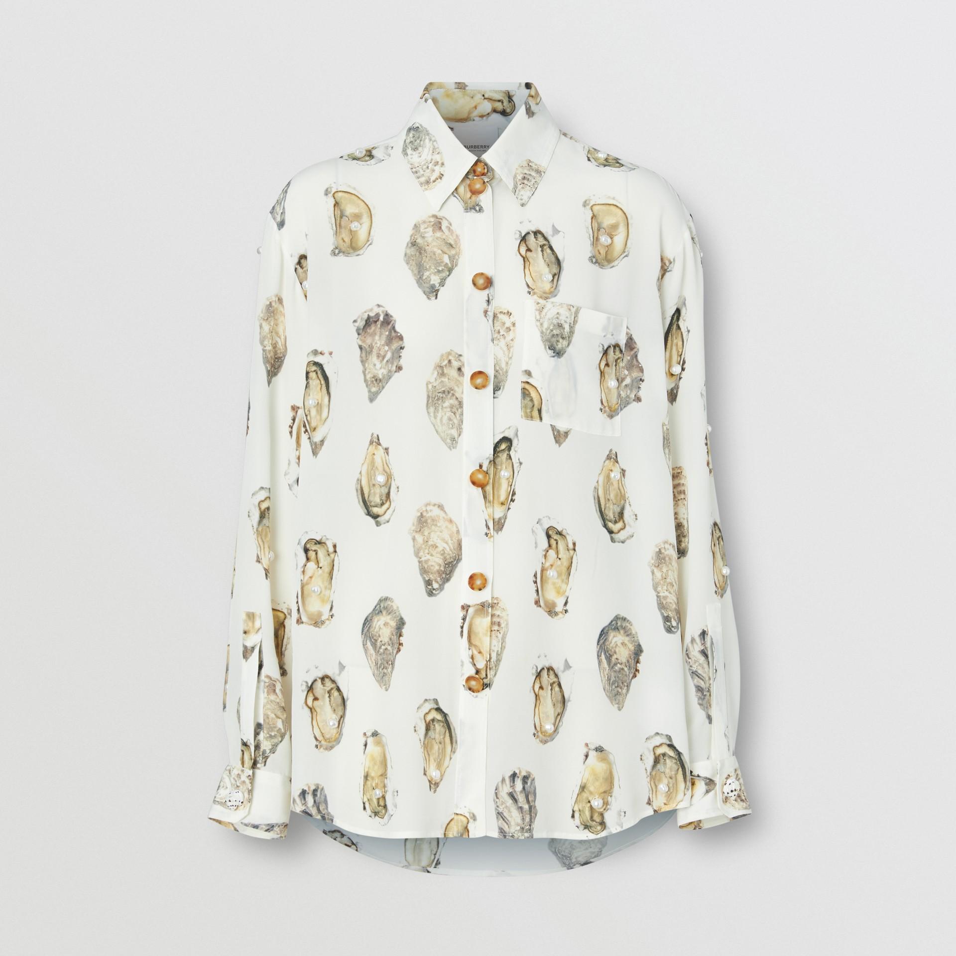 Camisa oversize de seda com estampa de ostra (Branco) - Mulheres | Burberry - galeria de imagens 3