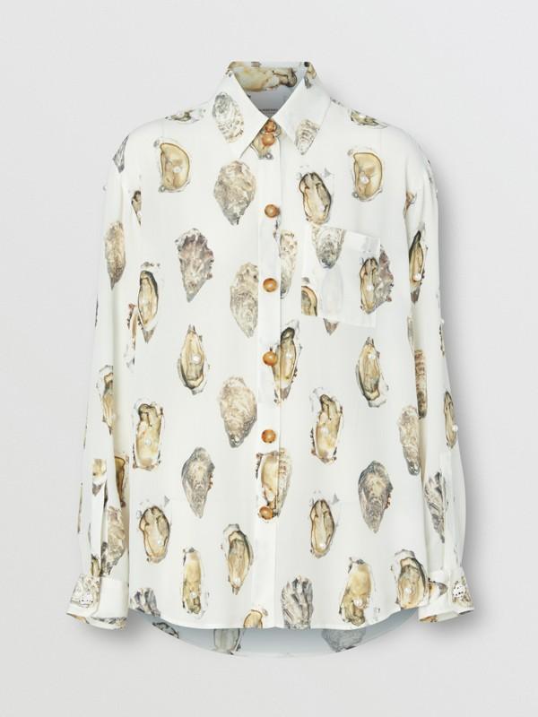 Camisa oversize de seda com estampa de ostra (Branco) - Mulheres | Burberry - cell image 3