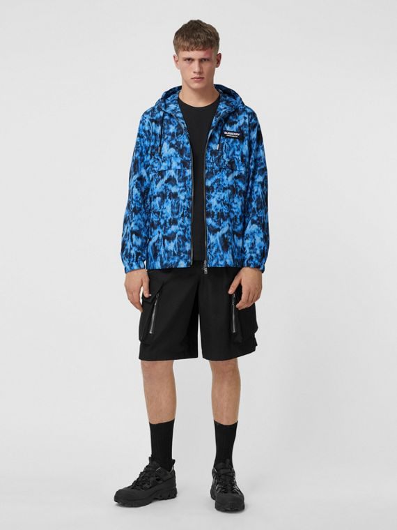 Ripple Print Packaway Lightweight Hooded Jacket in Midnight Navy